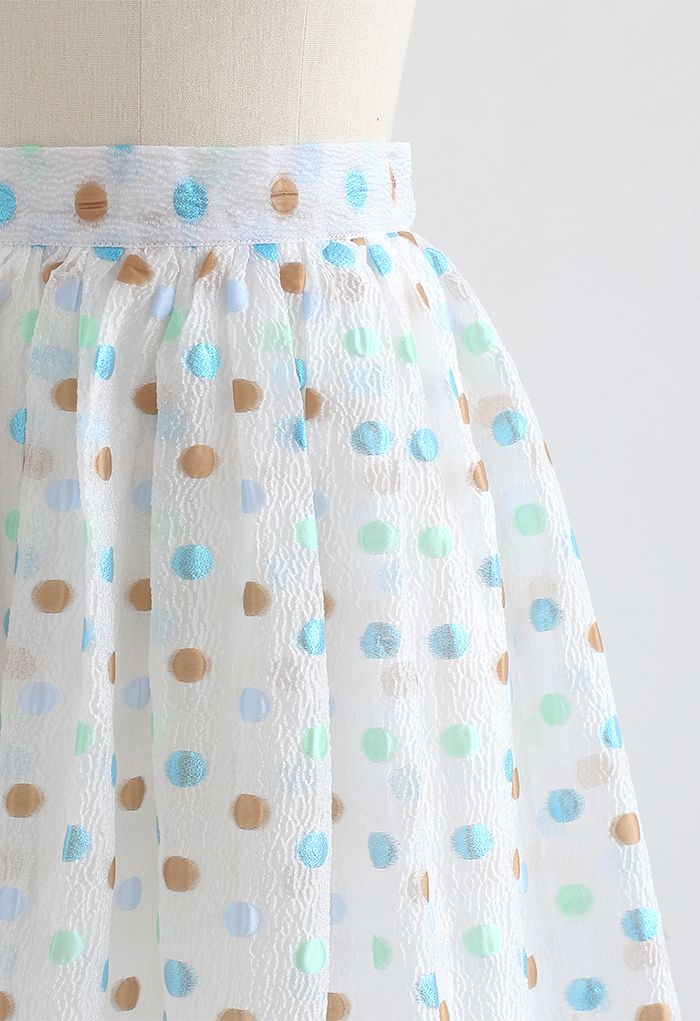 カラフルドットジャカードオーガンジースカート ホワイト