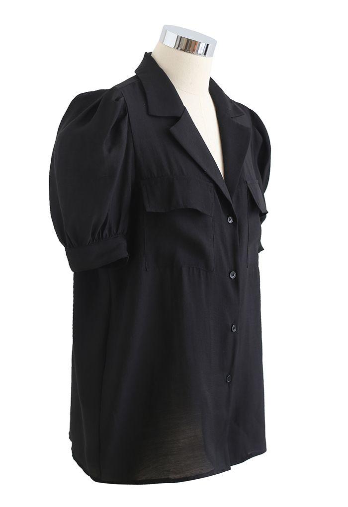 フロントポケットパフスリシャツ ブラック