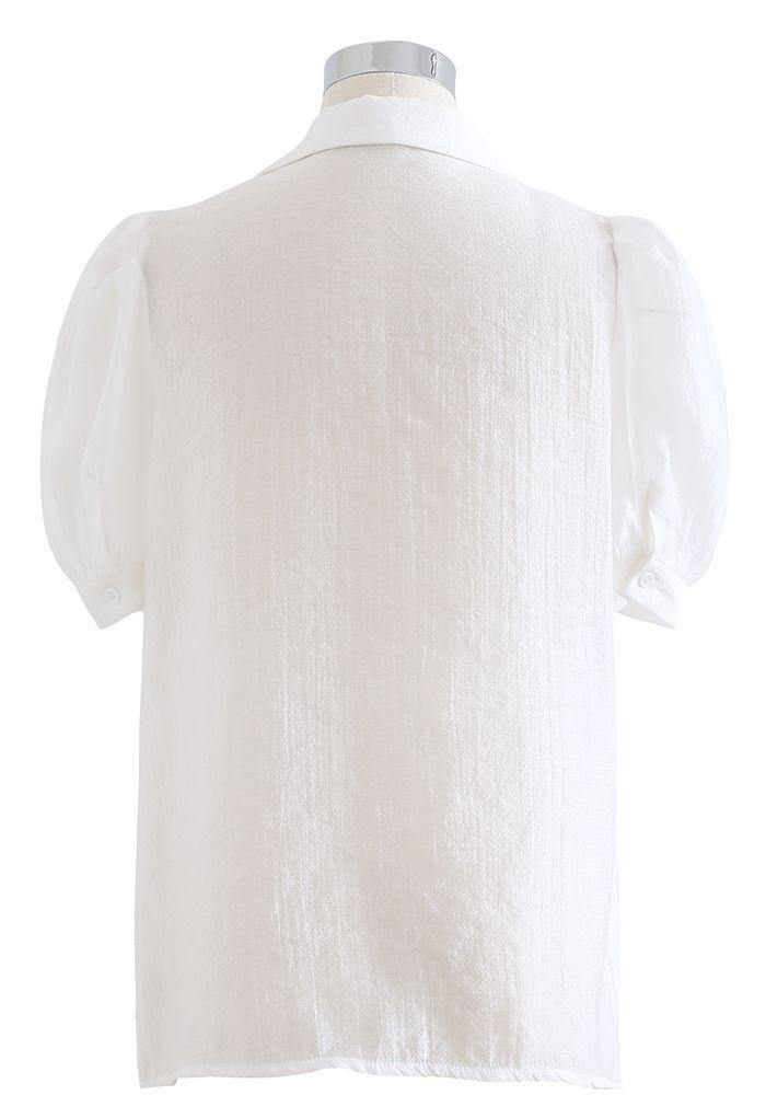 フロントポケットパフスリシャツ ホワイト