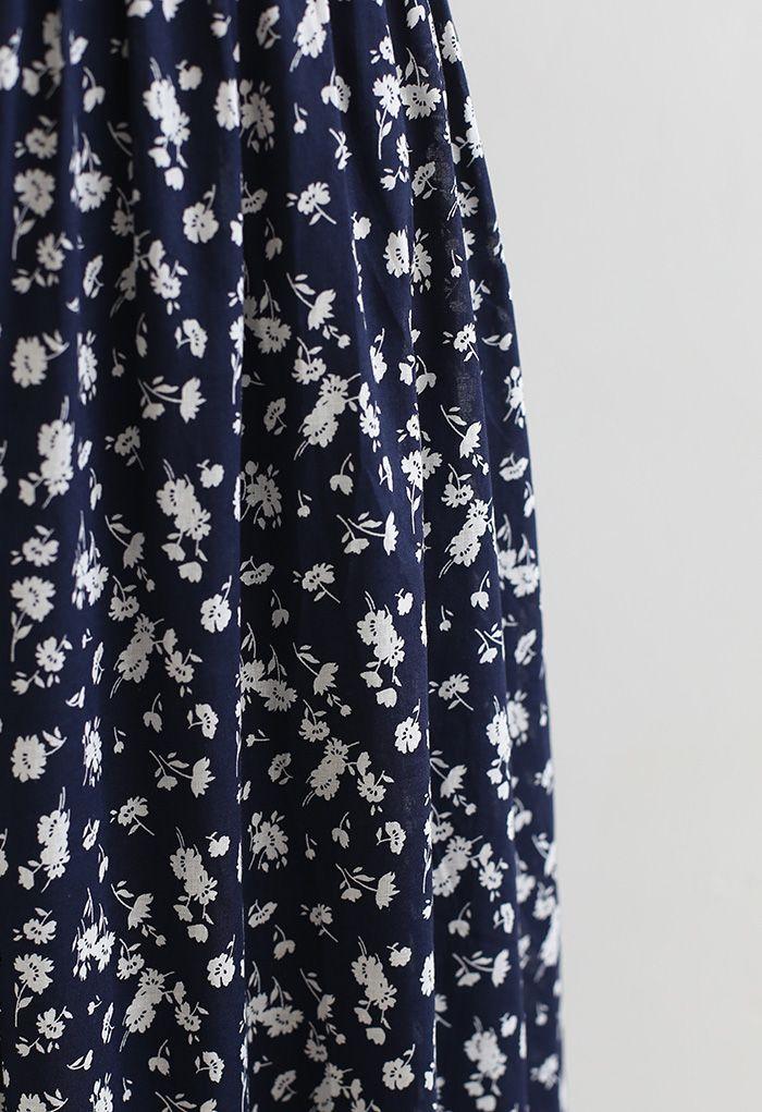 花柄トップス×スカートセット ネイビー