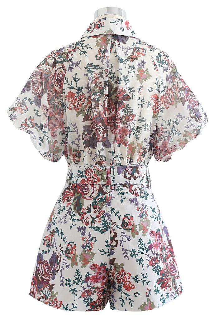 花柄プリントシャツ×ショートパンツセット
