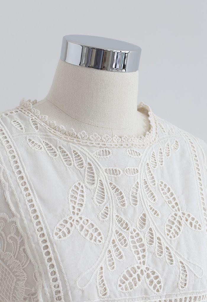 パフスリチュール刺繍ワンピース