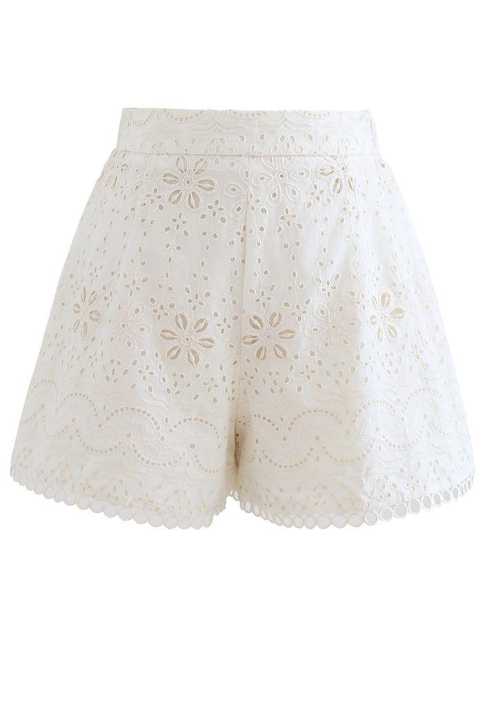 アイレット刺繍カシュクールトップス×ショートパンツセット アイボリー