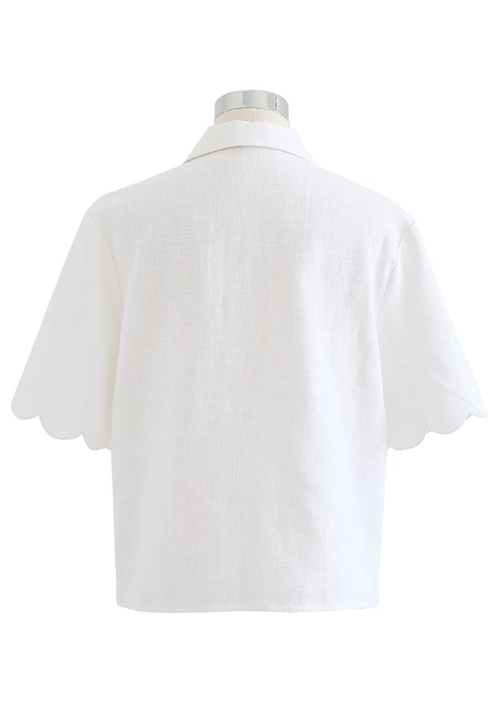 スカラップ刺繍リネン混シャツ