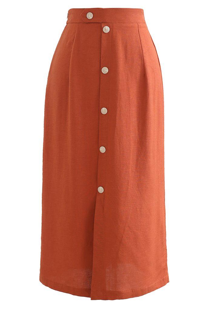 前ボタンスリットスカート オレンジ
