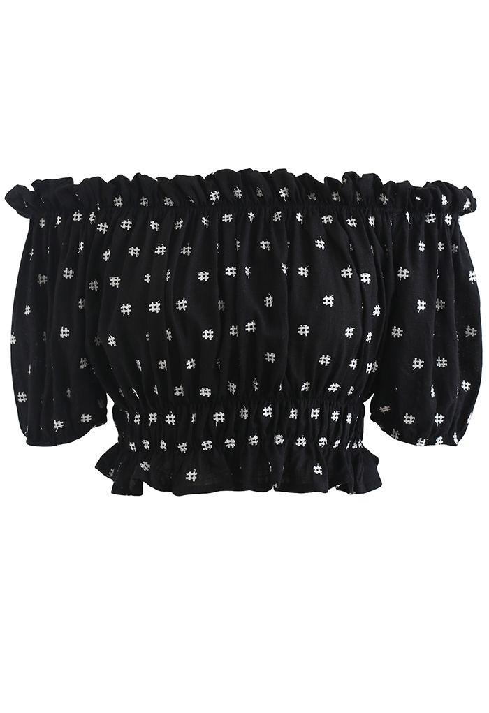 刺繍ラッフルオフショルトップス ブラック