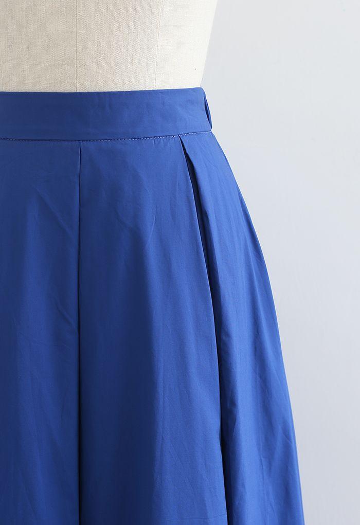 ハイウエストプリーツスカート ブルー