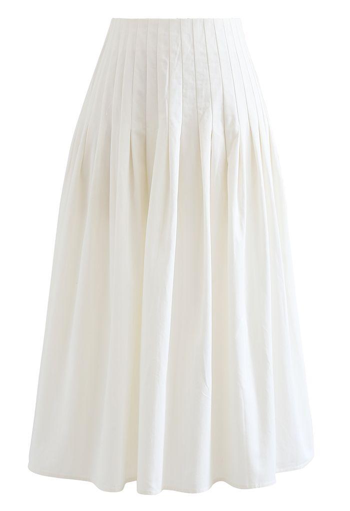 プリーツウエストコットンスカート ホワイト