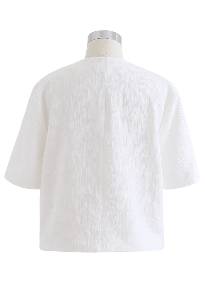 フロントボタンショートジャケット ホワイト