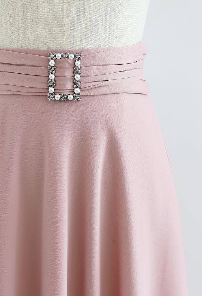 ベルト付きサテンフレアスカート ピンク