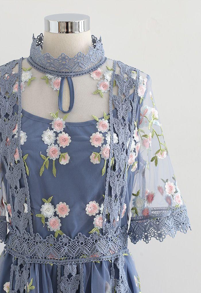 花柄刺繍レースチュールワンピース