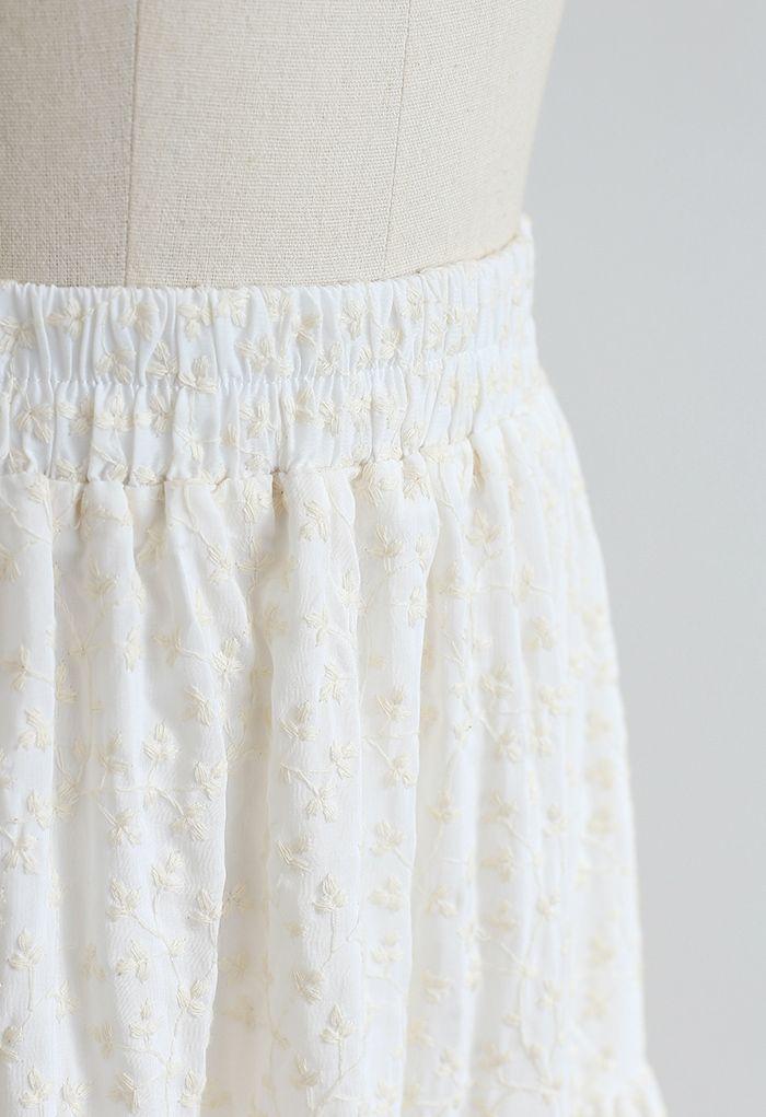 花柄刺繍ティアードコットンスカート アイボリー