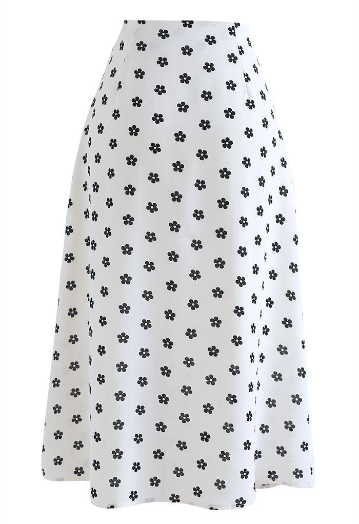 小花柄プリントハイウエストミモレスカート ホワイト