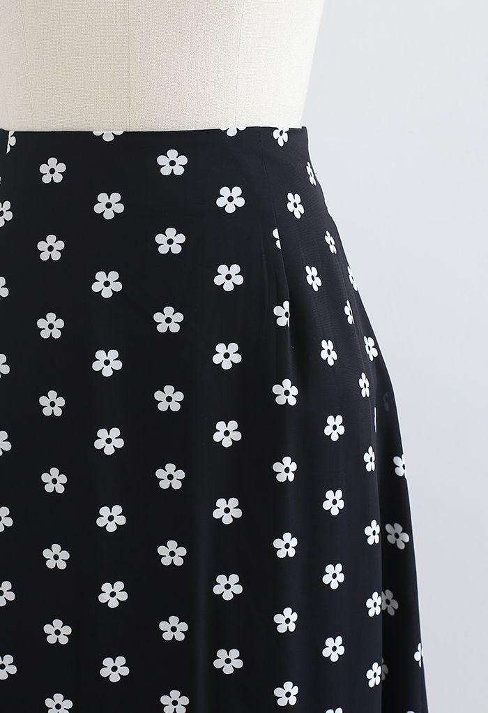 小花柄プリントハイウエストミモレスカート ブラック