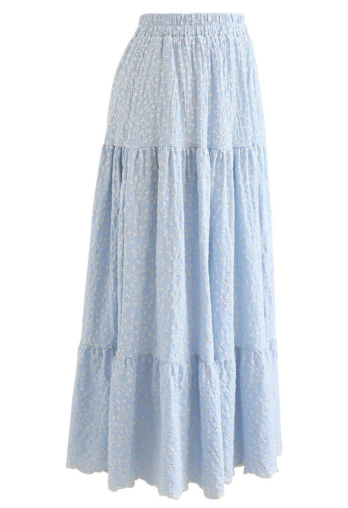 花柄刺繍ティアードコットンスカート ライトブルー