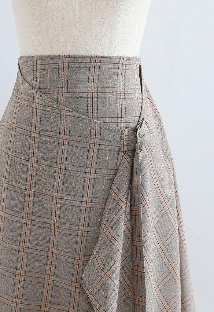 チェックプリントアシメンスカート