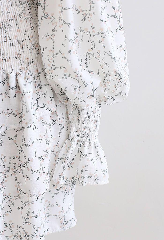 花柄ボリュームスリーブトップス×ミニスカートセット