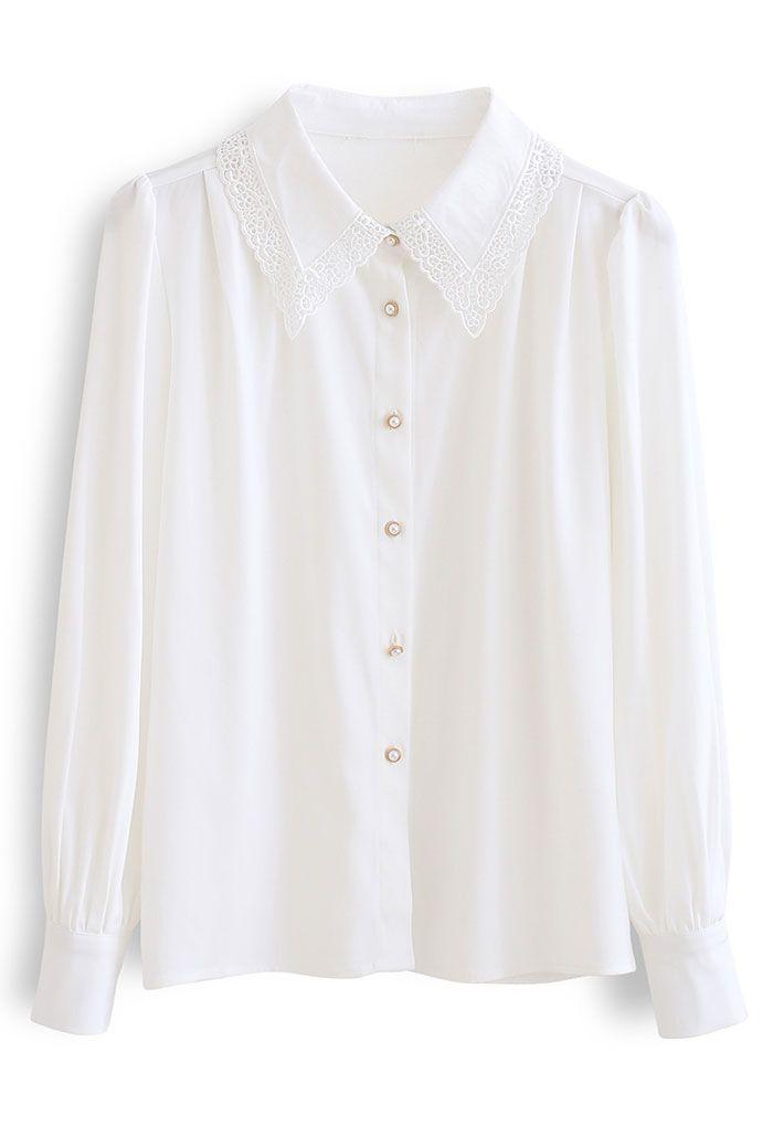 レースカラーシャツトップス ホワイト