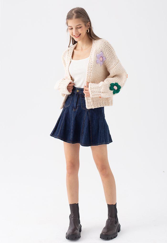 フラワー刺繍ハンド編みニットカーディガン アイボリー