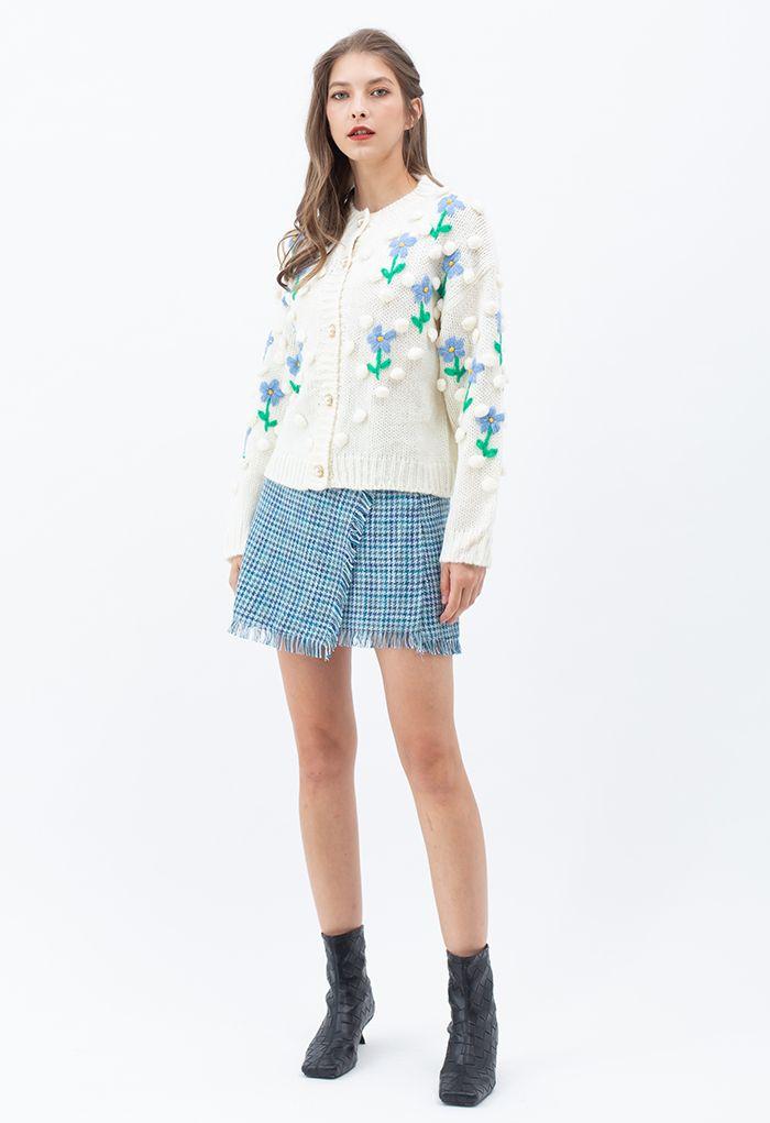 手編み風ポンポンニットカーディガン ホワイト