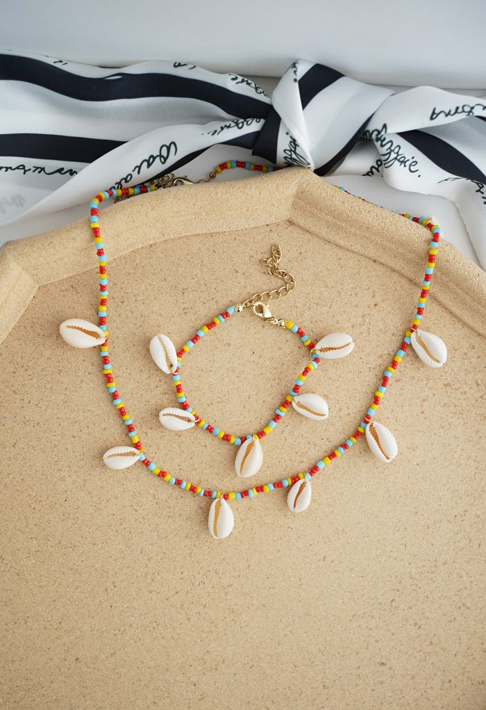 Shell Beads Chain Necklace and Bracelet Set