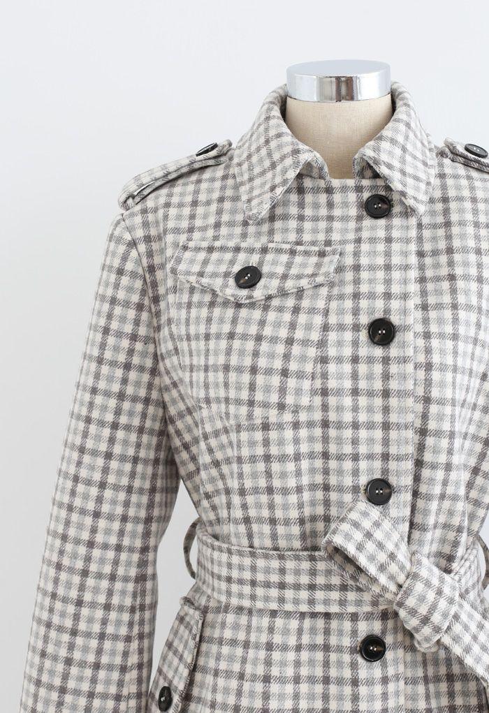ウールブレンドチェックボタン付きロングラインコート