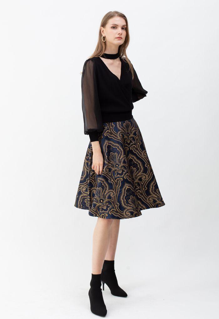 花柄刺繡ジャカードフレアスカート