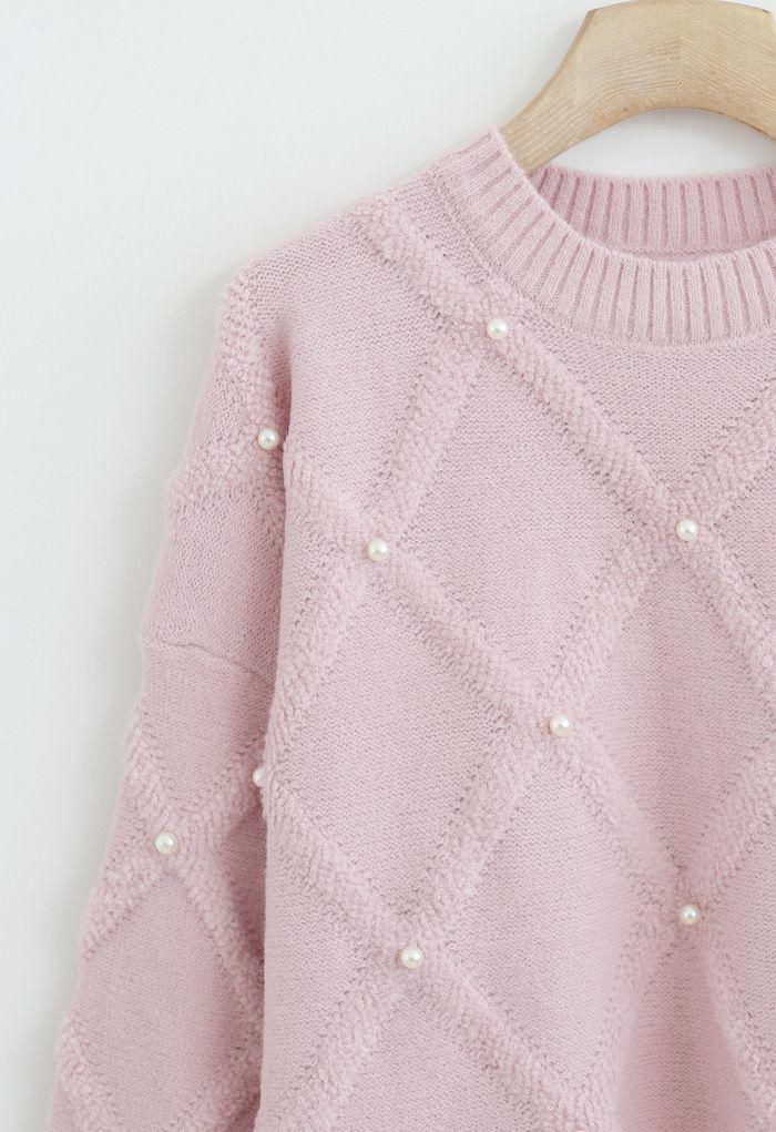 ダイヤモンド柄パール付きセーター ラベンダー