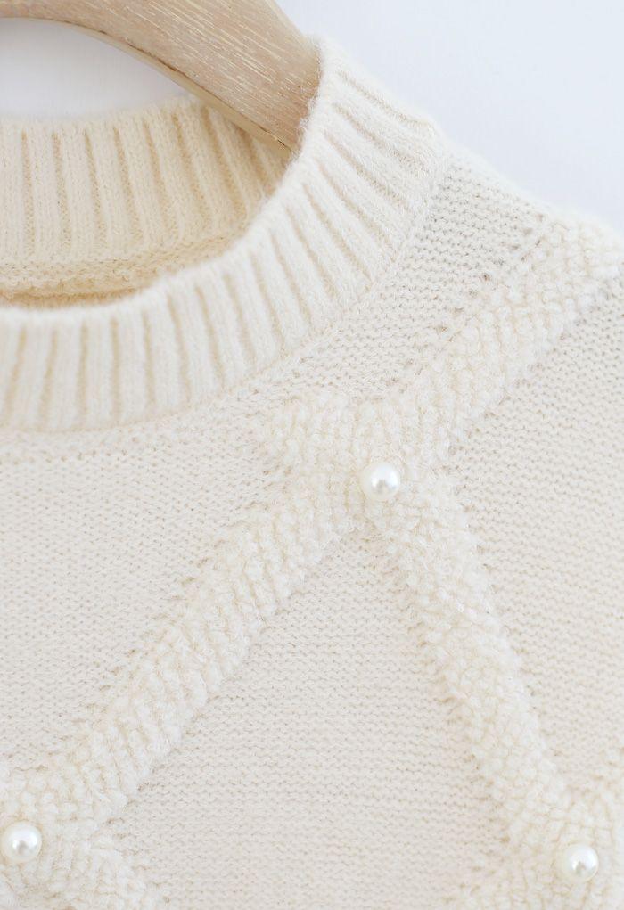 ダイヤモンド柄パール付きセーター アイボリー