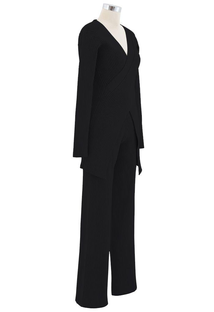 ニットロングラインセーターXパンツ セットアップ ブラック