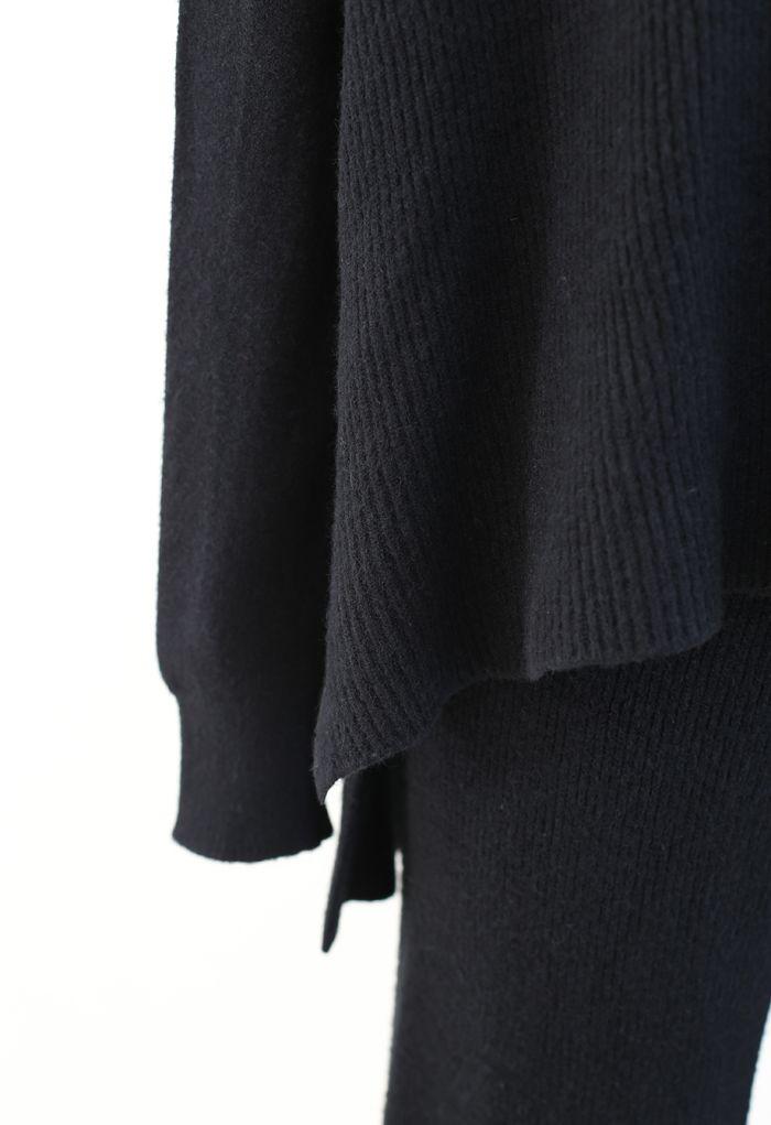 ケープニットトップスX長袖ニットトップスXパンツ セットアップ ブラック