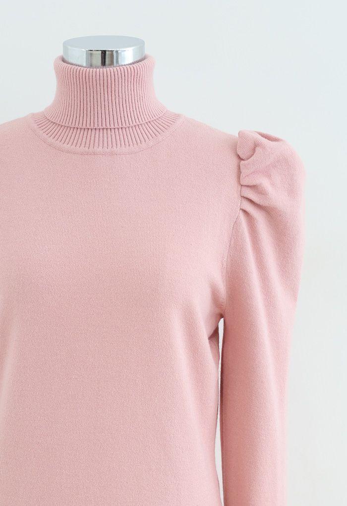 バブルショルダータートルネックセーターワンピース ピンク