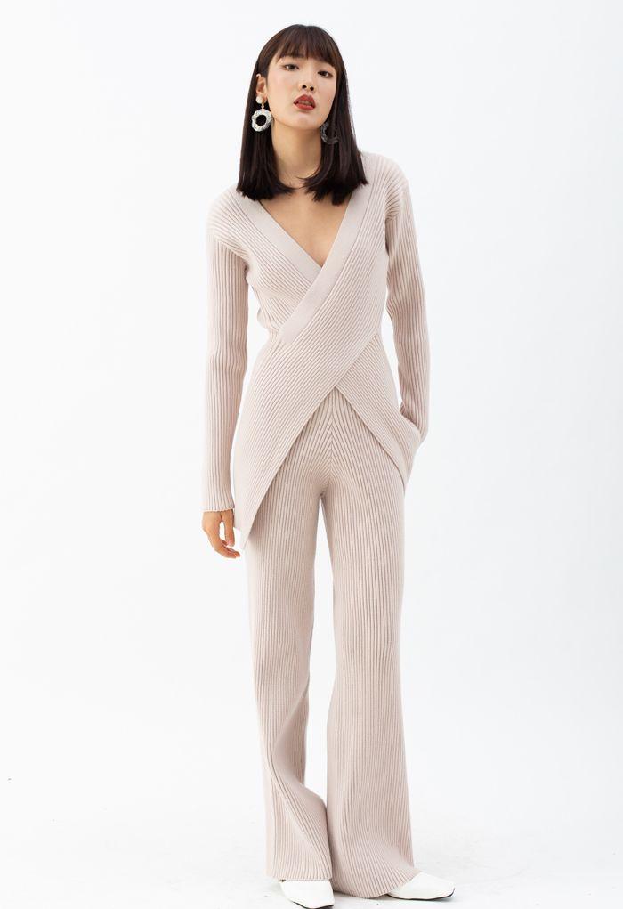ニットロングラインセーターXパンツ セットアップ ピンク