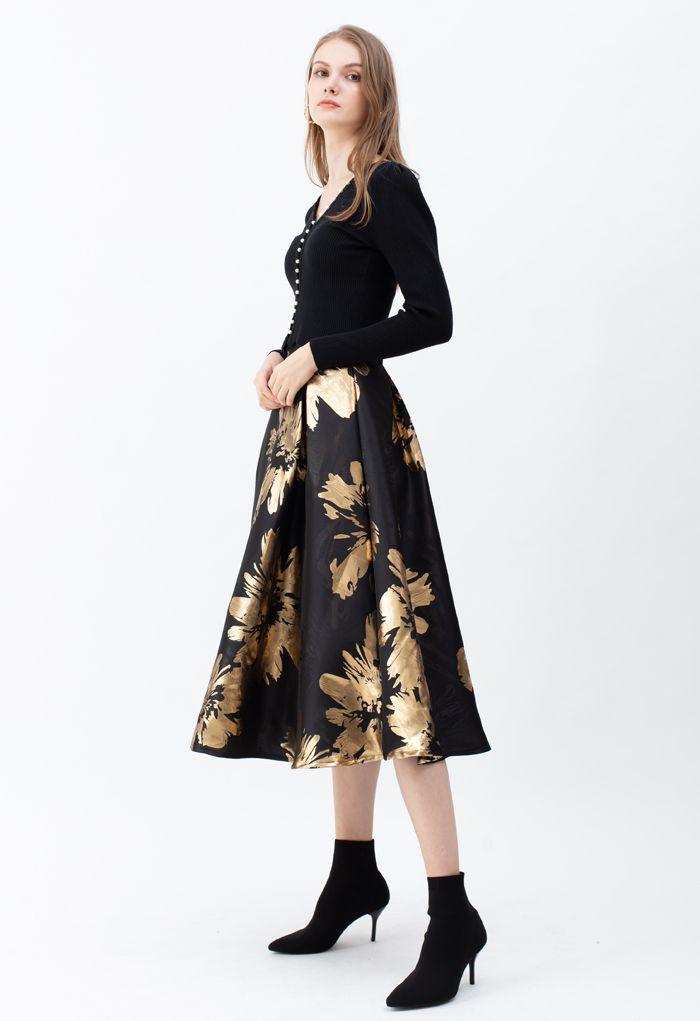 ゴールデン花柄ジャカードAラインスカート