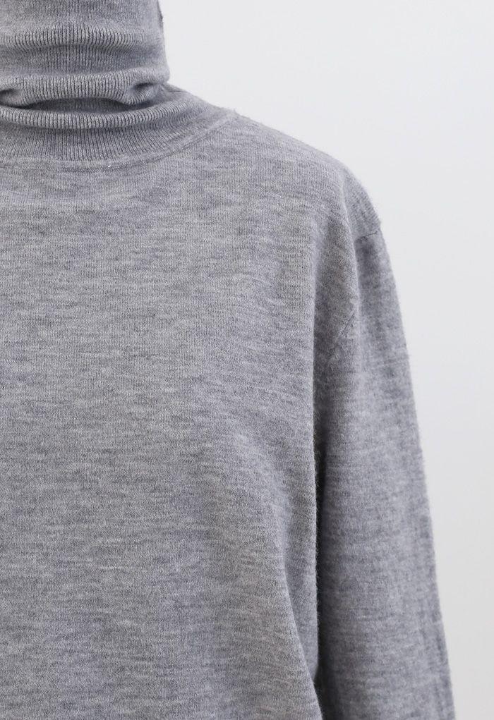 タートレネックリブ編みニットセーター グレー