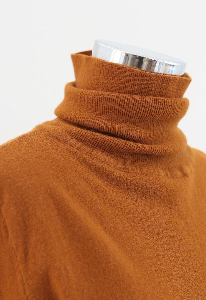 タートレネックリブ編みニットセーター パンプキンカラー