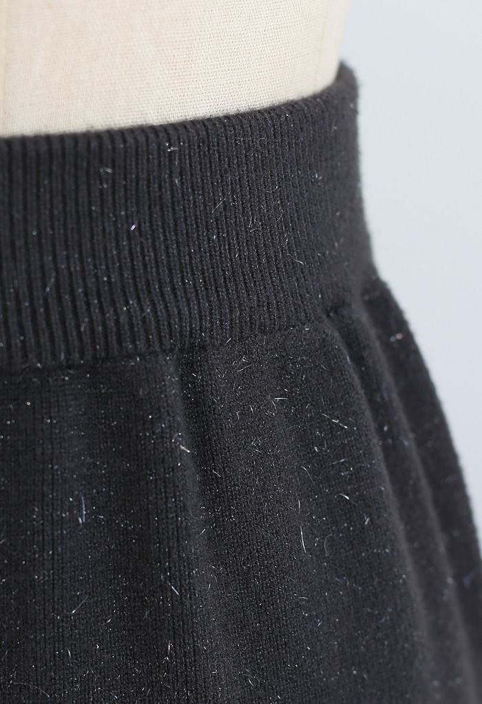 メタリックスレッドスリットバックニットスカート スモックグレー