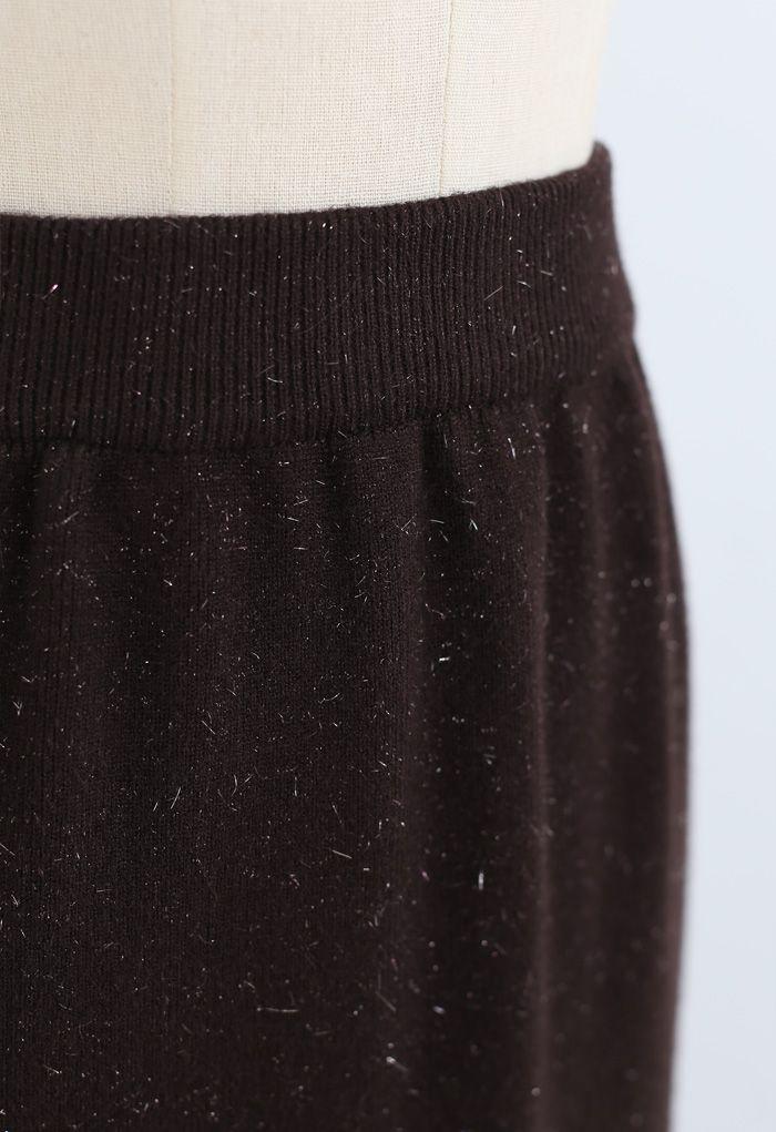 メタリックスレッドスリットバックニットスカート ブラウン