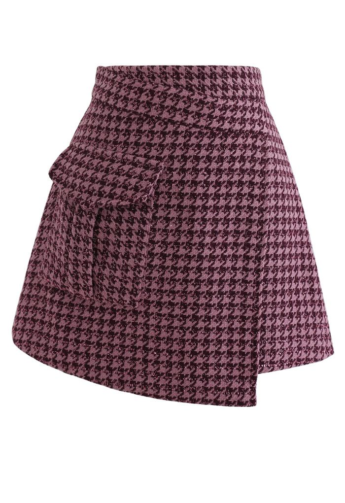 千鳥格子ツイード非対称ミニスカート ピンク