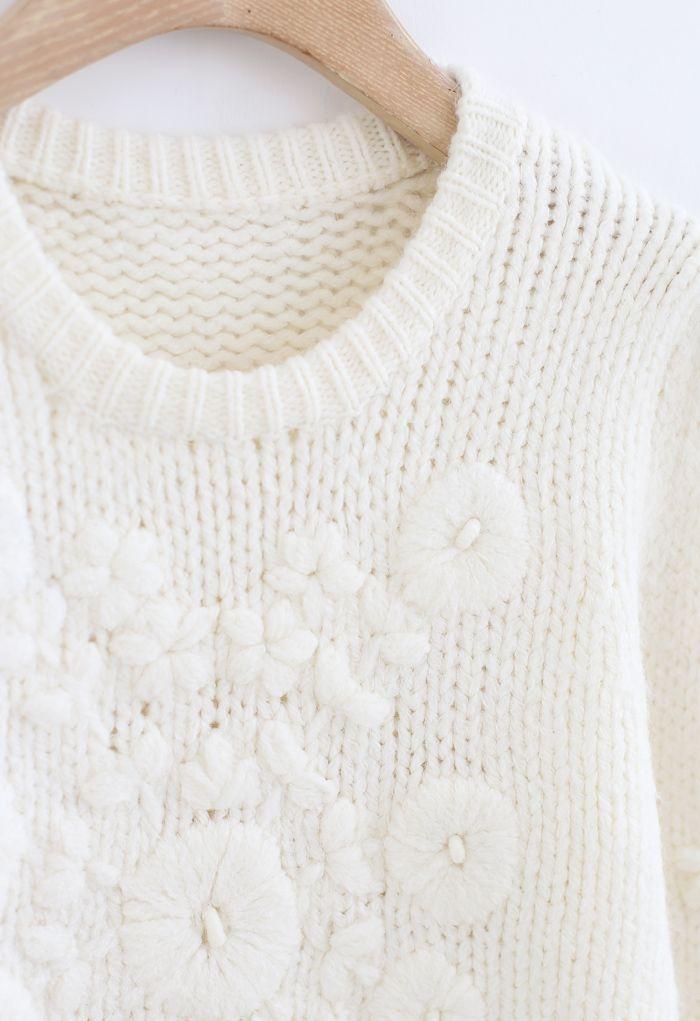 花柄刺繡パフスリーブセーター