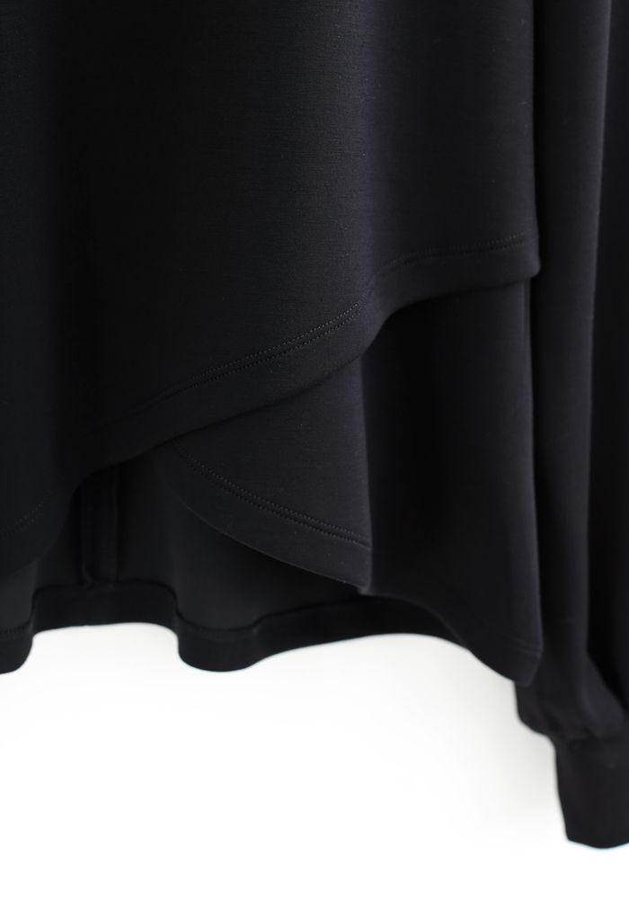 パーリーネッククロスラップ裾プルオーバー ブラック