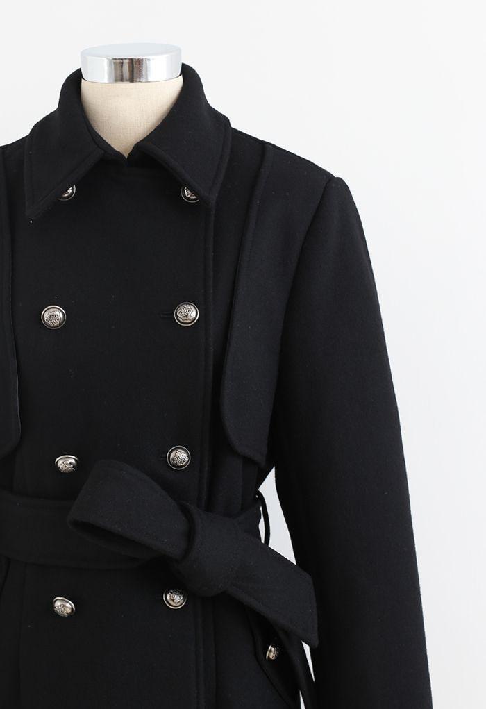 ダブルブレストウールブレンドロングラインコート ブラック