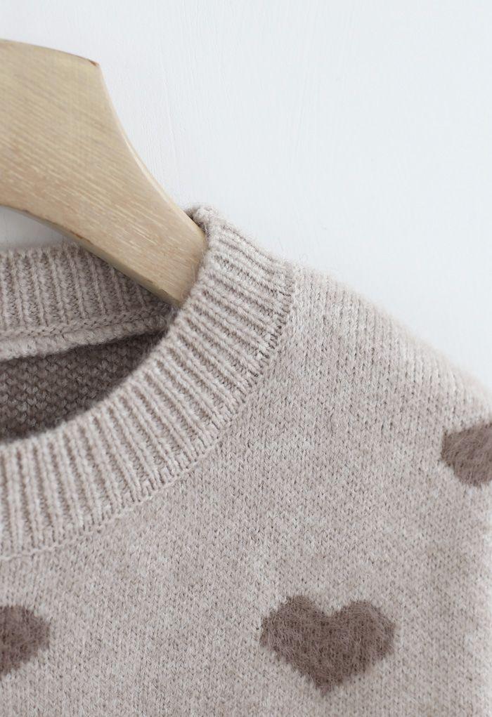 コントラストカラーハートセーター トープ