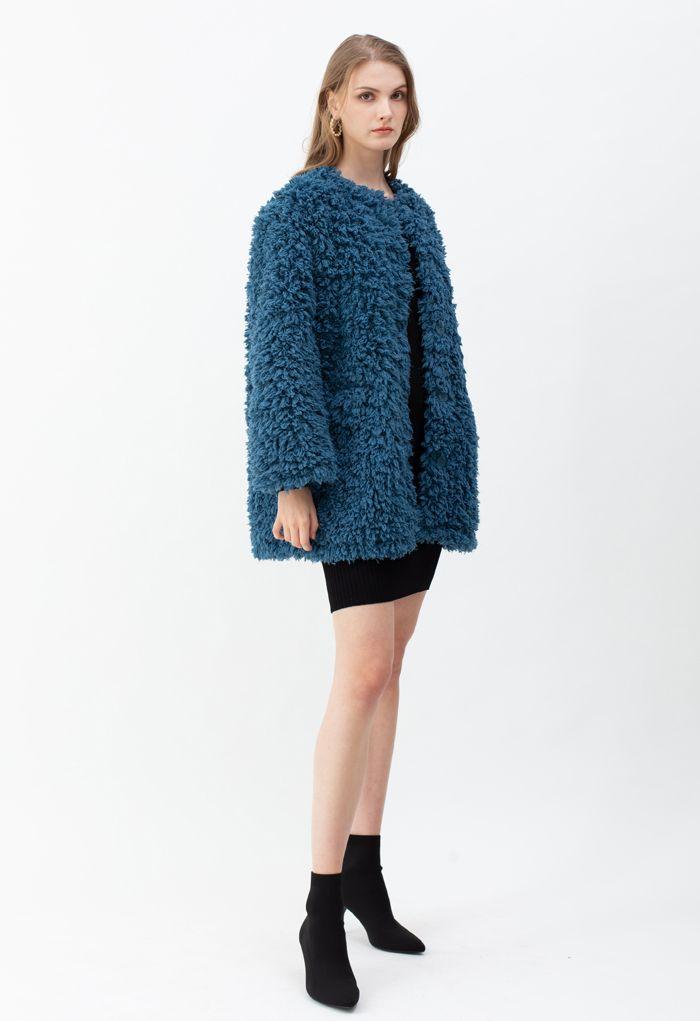 カラーレスシャギーフェイクファースエードコート ブルー