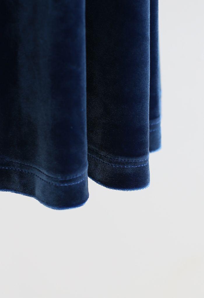ベルベットフレアワンピース ブルー