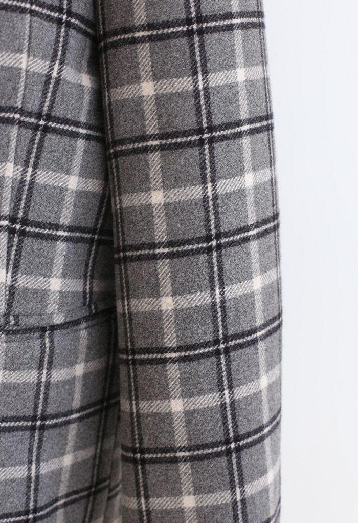 ウール混チェック柄ダブルブレストコート スモックグレー