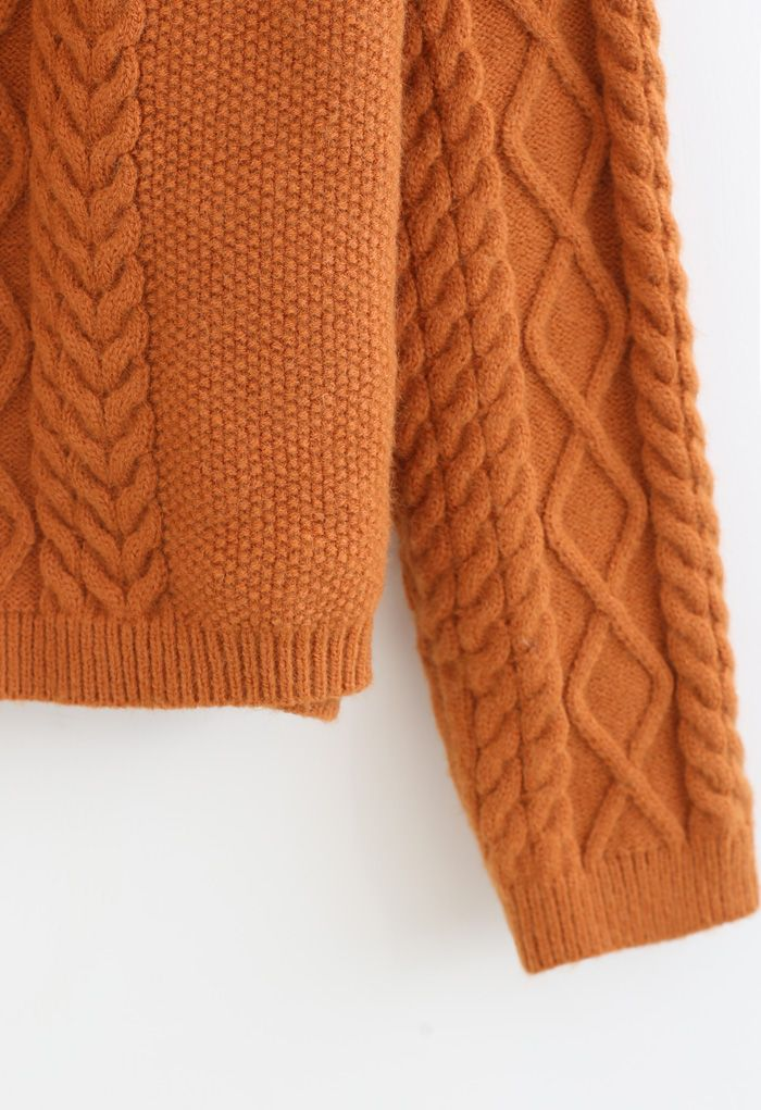ブレードテクスチャクロップドセーター オレンジ