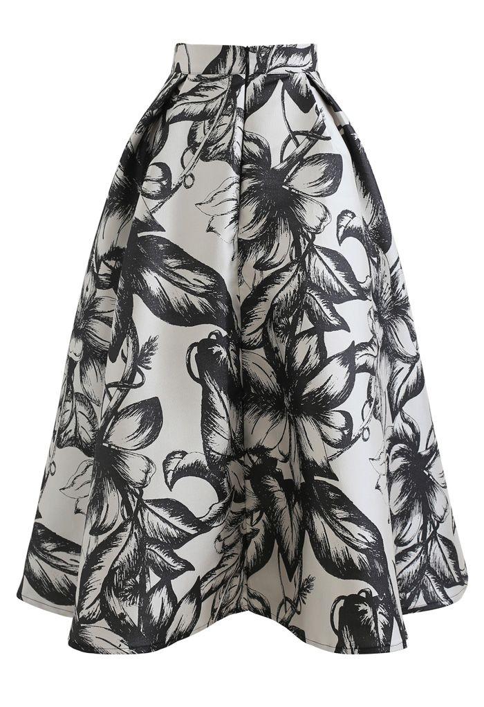 花柄プリーツフレアスカート ブラック