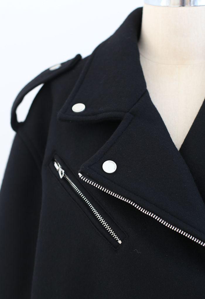 ウール混ジッパーモトジャケット ブラック