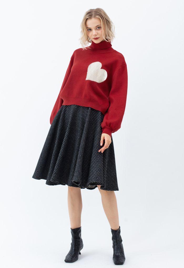 刺繡ハートハイネックセーター レッド